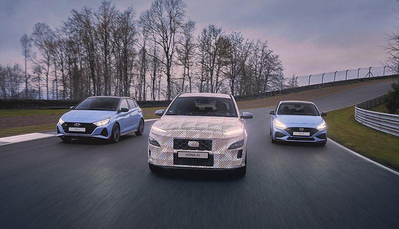 V.l.n.r.: de Hyundai i20 N, de KONA N en de i30 N.
