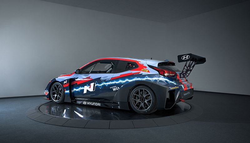 De elektrische raceauto Hyundai Veloster N ETCR.