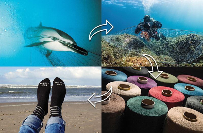 Van de door Healthy Seas uit zee gehaalde visnetten wordt garen gemaakt voor o.a. badkleding.