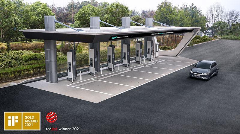 Een E-pit-laadstation van Hyundai vertoont gelijkenissen met een gewoon tankstation.