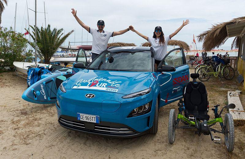 Voor de European Sustainability Tour van DAN Europe stelt Hyundai een elektrische KONA Electric beschikbaar.