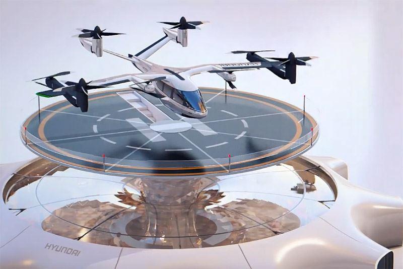 De Personal Air Vehicle zoals Hyundai die presenteerde op de elektronicabeurs CES in Las Vegas.