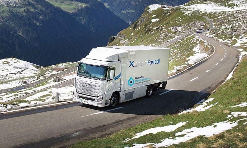 De waterstof-elektrisch aangedreven truck van Hyundai, de XCIENT Fuel Cell.