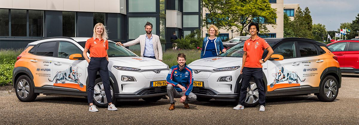 Twee Hyundai's KONA Electric voor studenten van Vattenfall Solar Team