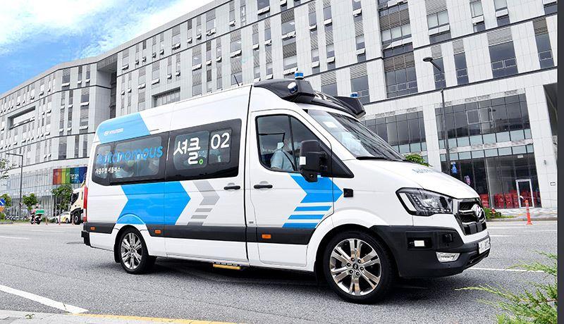 De RoboShuttle-pendeldienst met de H350 van Hyundai in Namyang, Zuid-Korea.
