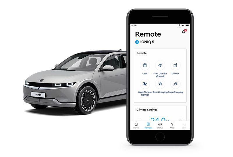 De vernieuwde Bluelink-app kun je ook gebruiken om op afstand het opladen van je batterij-elektrische Hyundai te plannen.