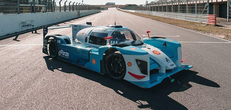 De waterstof-elektrisch aangedreven raceauto Forze IX van Forze Hydrogen Racing, het bekende waterstofraceteam van de TUDelft.