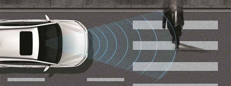 Forward Collision-Avoidance Assist (FCA) met voetgangersdetectie.