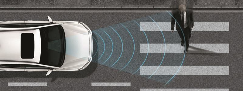 Forward Collision-Avoidance Assist (FCA) met voetgangersdetectie.