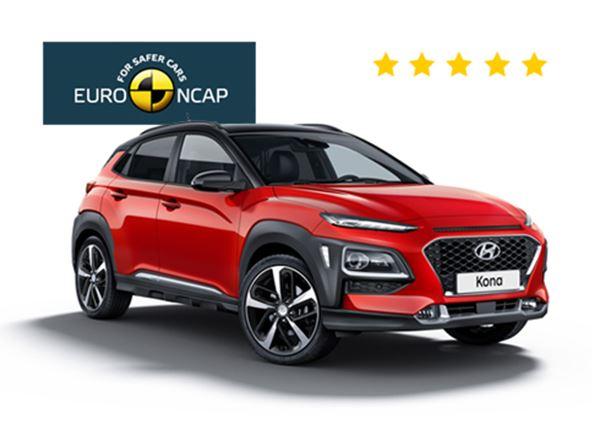 Euro NCAP beloont de Hyundai KONA met 5 sterren!