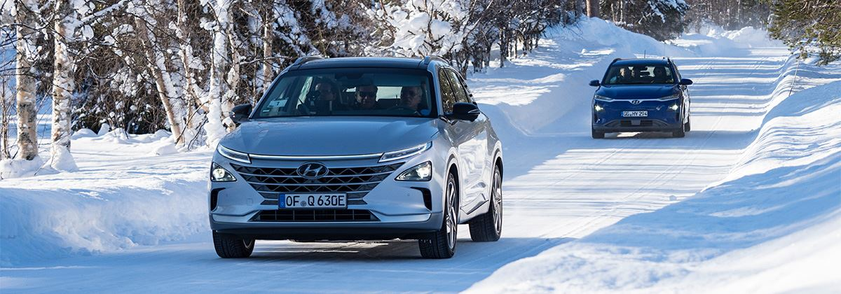 Hyundai test KONA Electric en NEXO in extreme kou