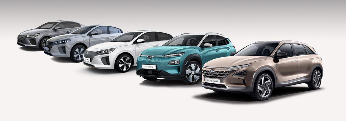 Alle elektrische auto's van Hyundai op een rij