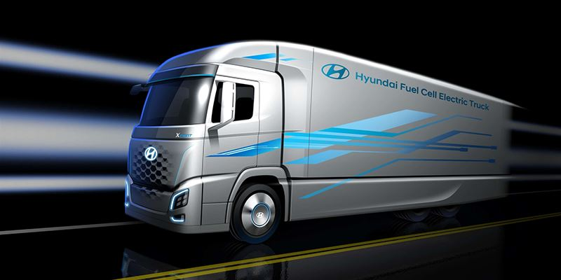 Artist-impression van Hyundai-truck op waterstof.