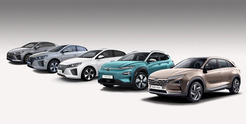 De line-up met elektrische modellen van Hyundai.