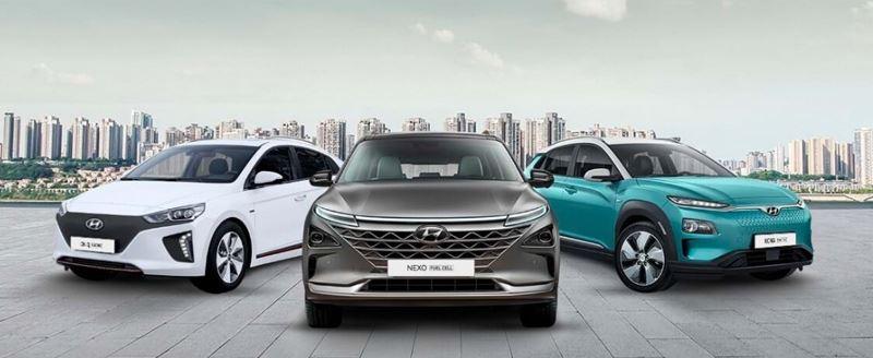 V.l.n.r.: de Hyundai IONIQ Electric, de waterstofauto Hyundai NEXO en de Hyundai KONA Electric.