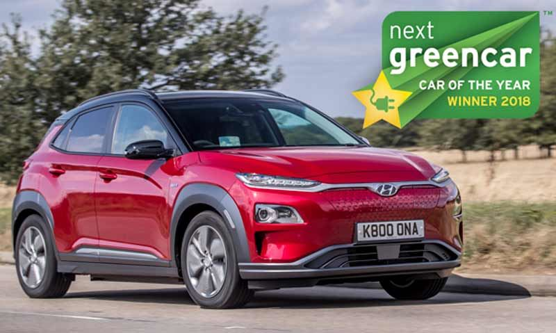 De Hyundai KONA Electric won bij de Next Green Car Awards twee prijzen: Car of the Year en Family Car of the Year 2018.
