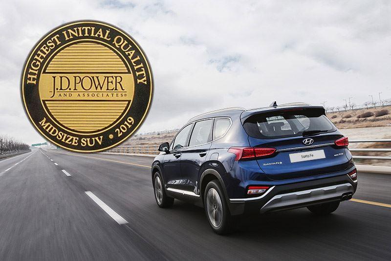 De Hyundai Santa Fe eindigt als eerste in het betrouwbaarheidsonderzoek van J.D. Power.