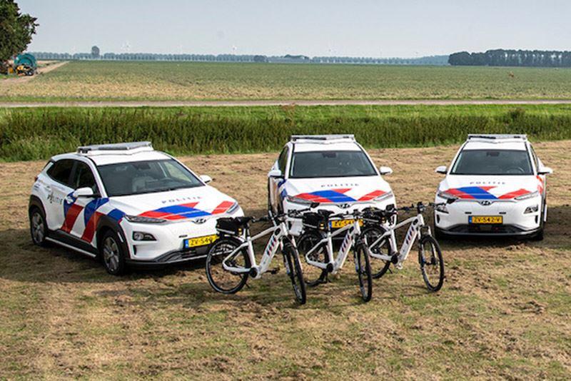 De pilot met de Hyundai KONA Electric bij de politie duurt een jaar. Foto: Politie
