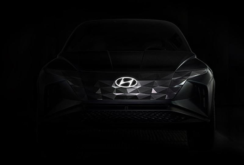 Vooral de grille van de nieuwe Hyundai-SUV doet sterk denken aan Le Fil Rouge.
