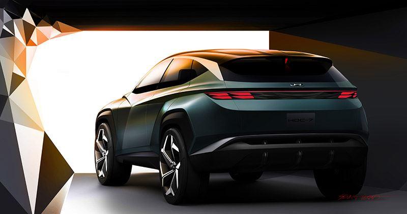 De achterlichten van de Hyundai Vision T en verlichting van het Hyundai-logo doven in een vaste volgorde.