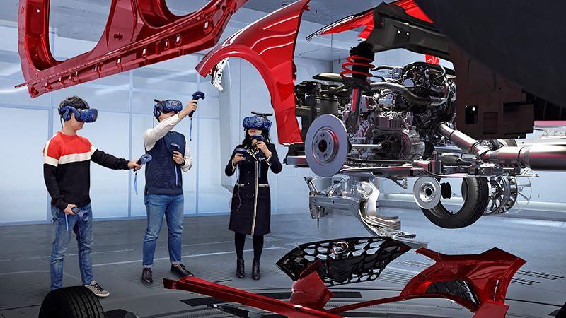 Met speciale VR-headsets kunnen twintig ontwerpers en ingenieurs tijdens de ontwikkelingsfase tegelijk aan simulaties deelnemen.