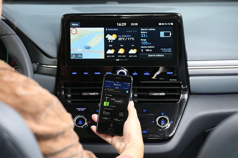 Met Hyundai Bluelink kun je bepaalde functies van de IONIQ Electric op afstand bedienen, zoals het regelen van de airco en het vergrendelen en ontgrendelen van de portieren.