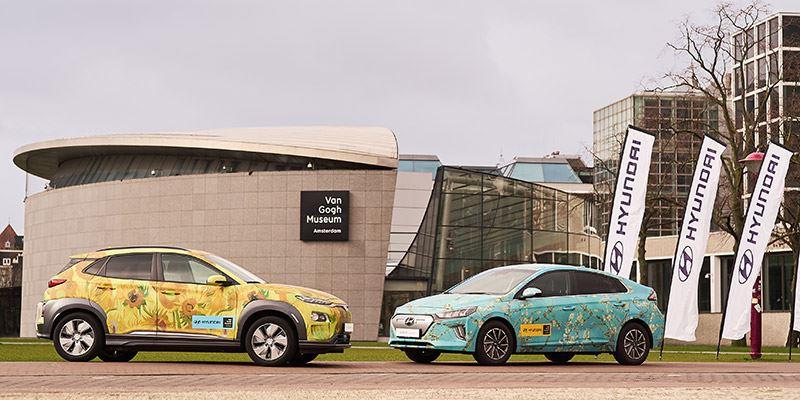 Opnieuw stelt Hyundai enkele elektrische Hyundai's ter beschikking aan het Van Gogh Museum. Het gaat om de vernieuwde IONIQ Electric en KONA Electric.