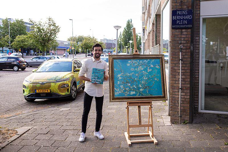 Ook Soufiane kreeg een 'Van Gogh' te leen. Hij werd genomineerd door zijn zus. Foto: Mark Engelsman