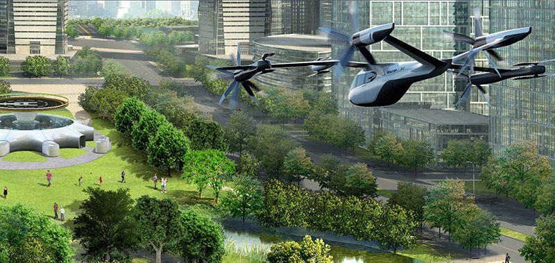 De PAV (Personal Air Vehicle) van Hyundai is een kruising tussen een helikopter en een auto.