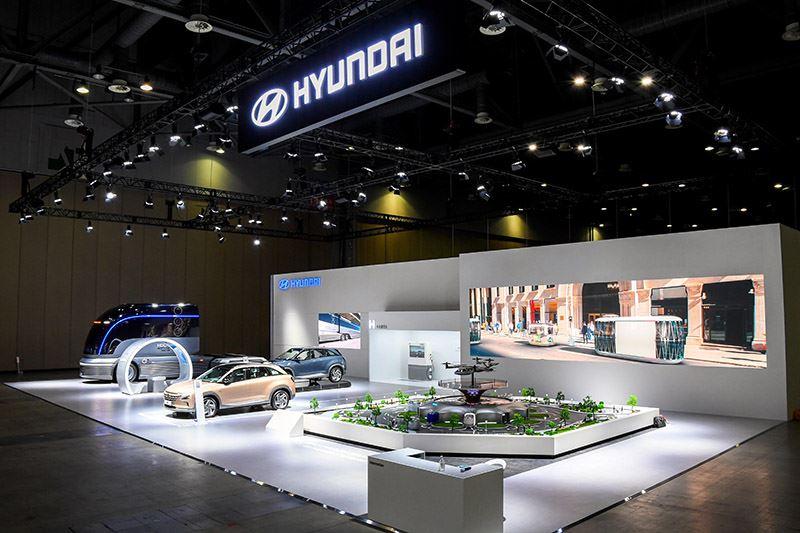 De stand van Hyundai op de internationale beurs H2 Mobility + Energy Show 2020 in Korea.
