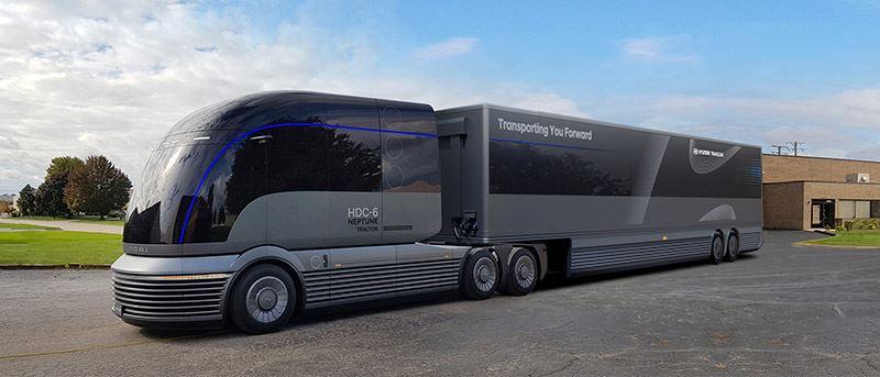 De Hyundai HDC-6 NEPTUNE Concept is een doorontwikkelde versie van de waterstof-elektrisch aangedreven H2 Xcient.