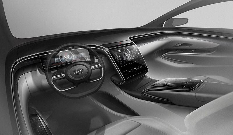 De middenconsole in de nieuwe Hyundai Tucson vormt een vloeiend geheel met de console tussen de stoelen.